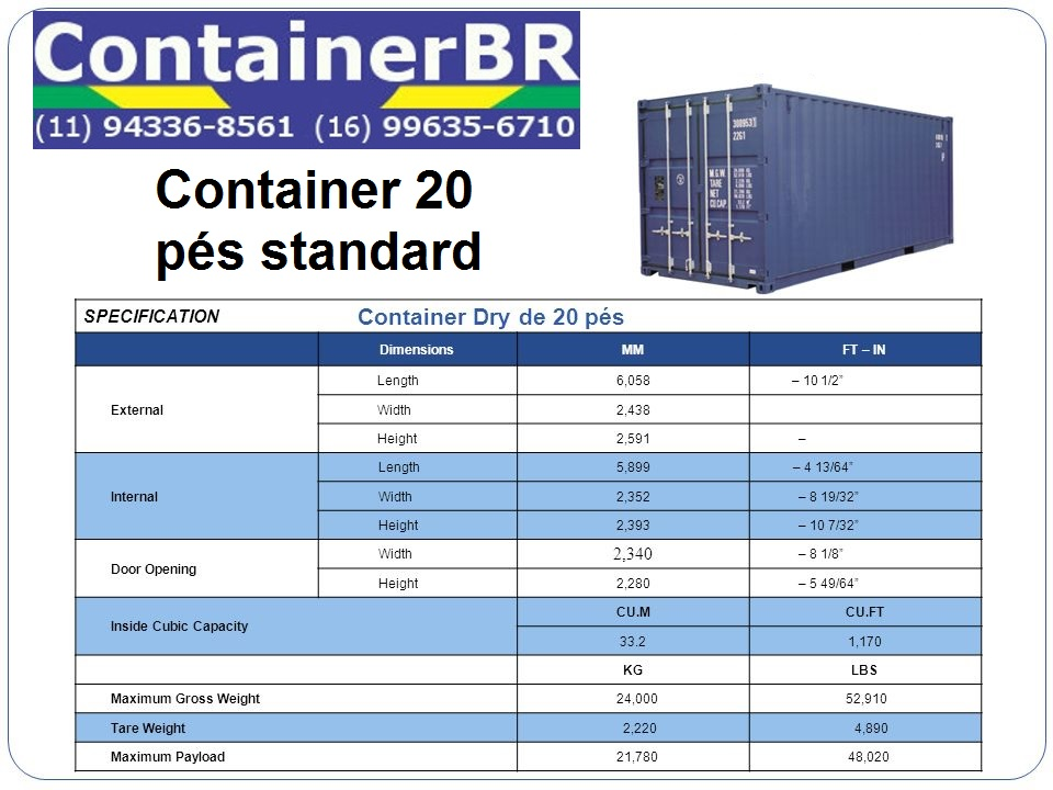 Especificações do Container